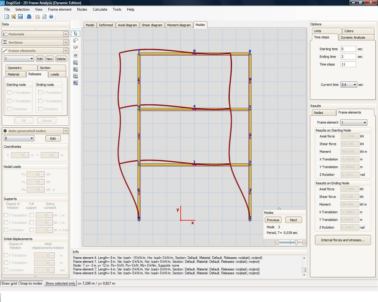 2D Frame Analysis Dynamic Edition - Dynamic Frame Analysis Software