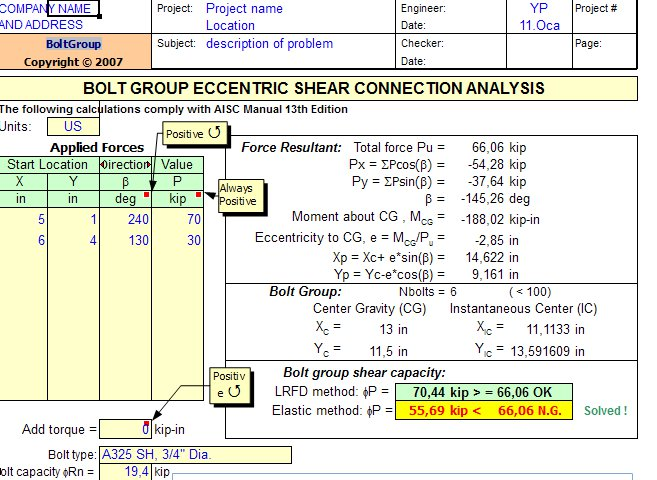 BoltGroup - Eccentrically Loaded Bolt Group Shear Capacity