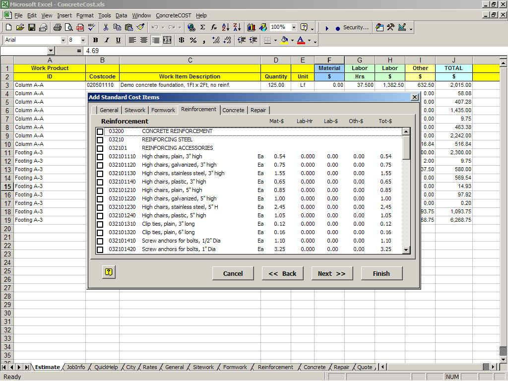 Concretecost Estimator For Excel Concrete Cost Estimating