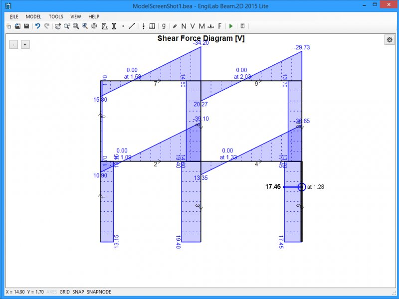 EngiLab Beam 2D - Structural analysis of plane (2D) frames Software