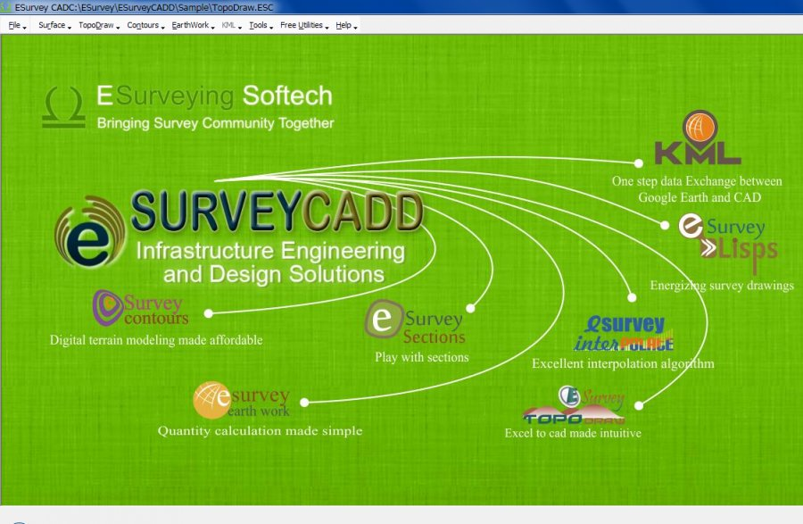 ESurvey CADD - Contour, Section, Earthwork, Interpolate