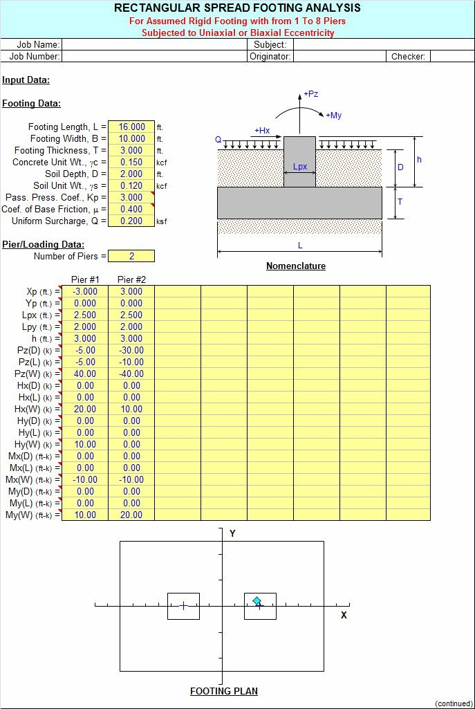 FOOTINGS - Rectangular Spread Footing Analysis Spreadsheet