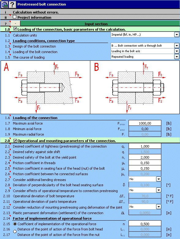 MITCalc Bolted Connections - Prestressed Bolt Connection