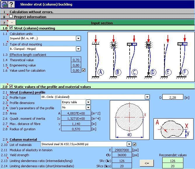 MITCalc Buckling - Calculation Slender Strut (Column