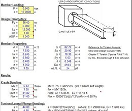 TORSION9 - Simplified Torsion Analysis For Steel Beams
