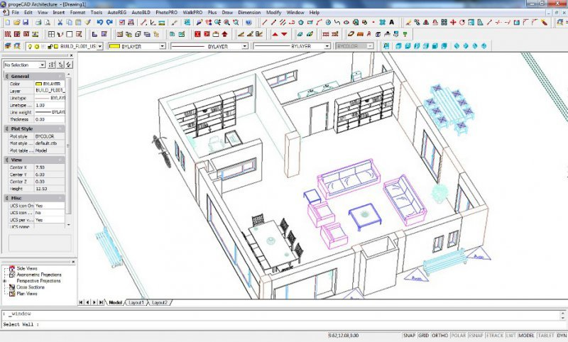 Progecad architecture 2d 3d architectural design and for Simple architectural drawing software