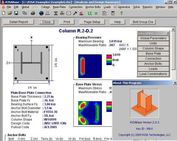 RISABase - Base Plate and Anchor Bolt Design Software