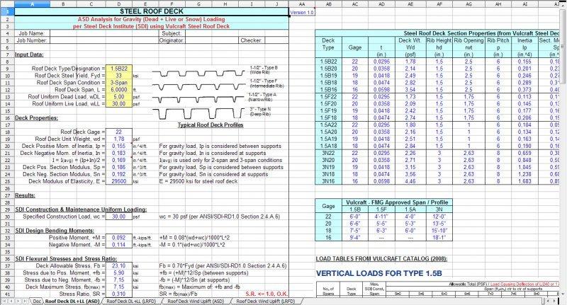 Roofdeck Roof Steel Deck Analysis Design Spreadsheet
