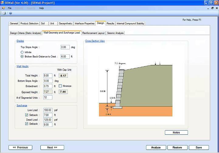 Segmental Retaining Wall Design Calculations : Srwall software segmental retaining wall design