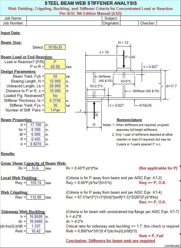 STIFFNER - Steel Beam Web Stiffener Analysis Spreadsheet