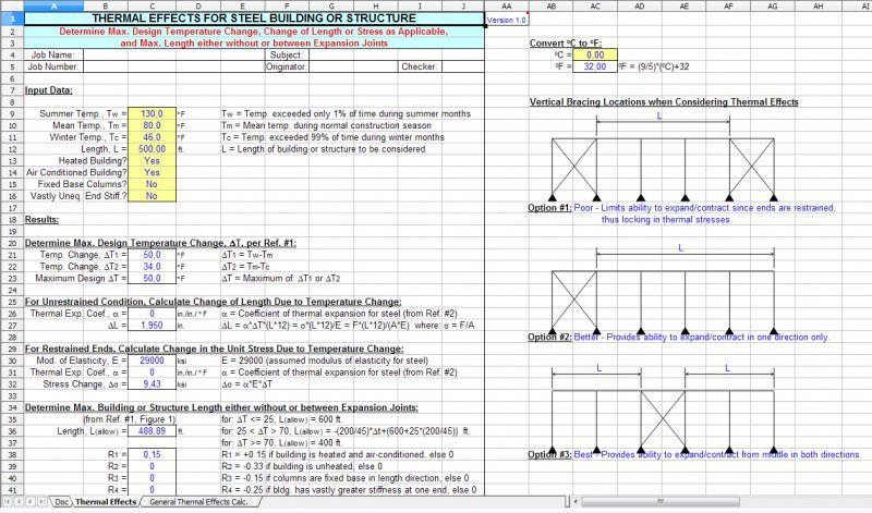 THERMAL - Thermal Effects for Steel Building or Structure Spreadsheet