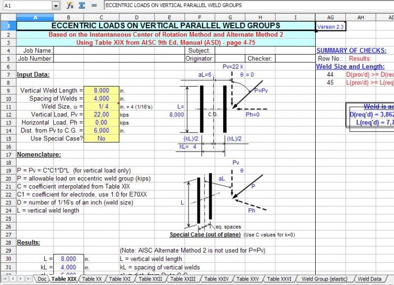Weldgrp Weld Group Analysis Per Aisc 9th Ed Spreadsheet